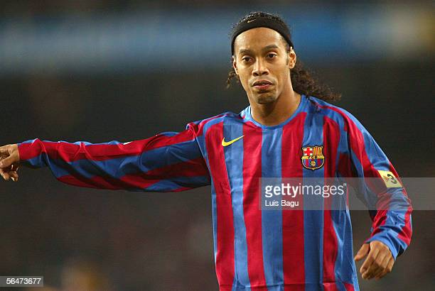 Ronaldinho of Barcelona during La Liga match between FC Barcelona and Celta on December 20 2005 at the Camp Nou stadium in Barcelona Spain