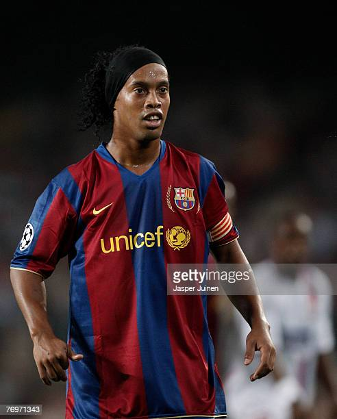 Ronaldinho of Barcelona during the UEFA Champions League Group E match between Barcelona and Lyon at the Camp Nou stadium on September 19 2007 in...