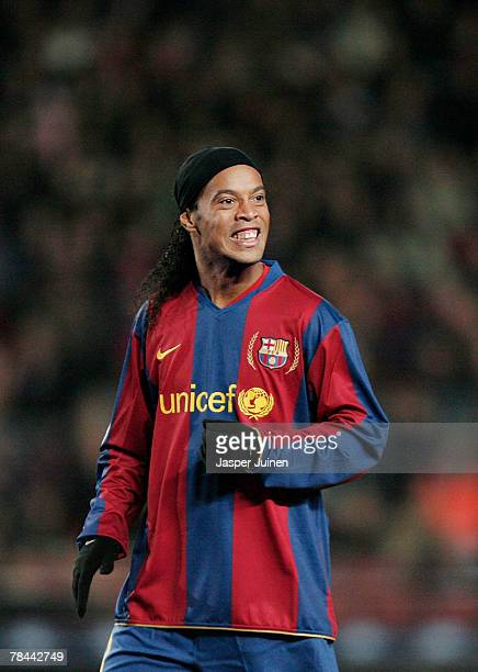 Ronaldinho of Barcelona during the UEFA Champions League Group E match between Barcelona and Lyon at the Camp Nou stadium on December 12 2007 in...