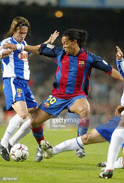 Ronaldinho of Barcelona in action during the Spanish Primera Liga match between Barcelona and Espanyol at the Camp Nou Stadilum on May 2 2004 in...