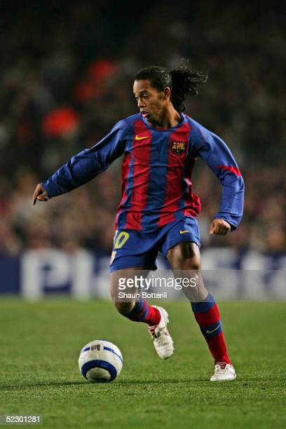 Ronaldinho of Barcelona in action during the UEFA Champions League first knockout round first leg match between Chelsea and Barcelona at Nou Camp on...