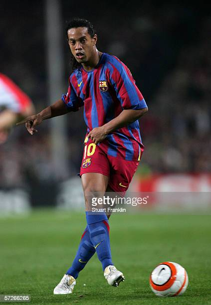 Ronaldinho of Barcelona in action during UEFA Champions League Quarter Final second leg match between Barcelona and SL Benfica at the Camp Nou on...