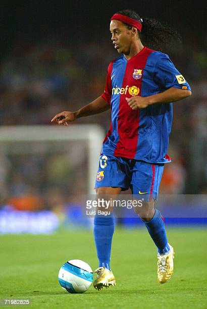 Ronaldinho of Barcelona is seen in action during the match between FC Barcelona and Valencia of La Liga on September 2006 played at the Camp Nou...