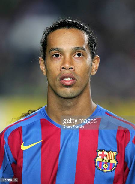 Ronaldinho of Barcelona lines up before the UEFA Champions League Quarter Final second leg match between Barcelona and SL Benfica at the Camp Nou on...