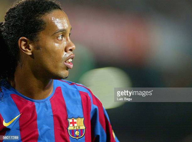 Ronaldinho of Barcelona looks on during the match between FC Barcelona and Malaga of the Spanish Primera Liga at the Camp Nou stadium in Barcelona...