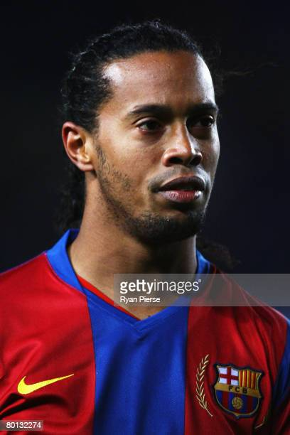 Ronaldinho of Barcelona looks on during the UEFA Champions League 2nd leg of the First knockout round match between FC Barcelona and Celtic at the...