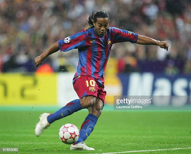 Ronaldinho of Barcelona shoots during the UEFA Champions League Final between Arsenal and Barcelona at the Stade de France on May 17 2006 in Paris...