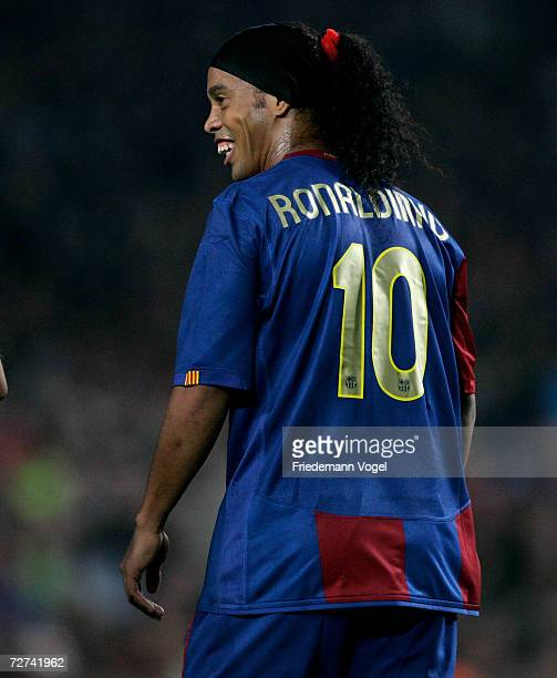 Ronaldinho of Barcelona smiles during the UEFA Champions League Group A match between FC Barcelona and Werder Bremen at the stadium Camp Nou on...