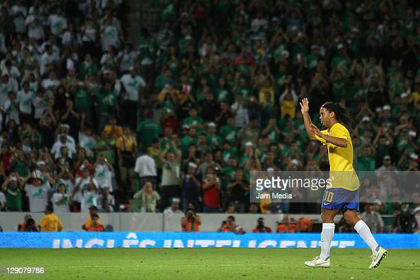 Ronaldinho of Brasil celebrates a scored goal during a match against Mexico as part a friendly match between Mexico National Team and Brasil National...