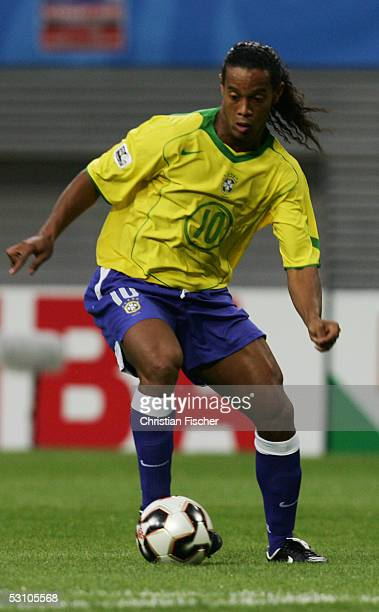 Ronaldinho of Brazil during the FIFA Confederations Cup 2005 Match between Brazil and Greece on June 16 2005 in Leipzig Germany