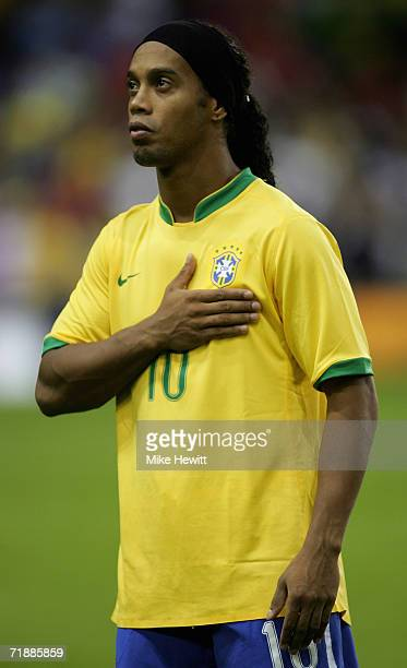 Ronaldinho of Brazil during the National Anthems prior to the International friendly match between Brazil and Wales at White Hart Lane on September 5...