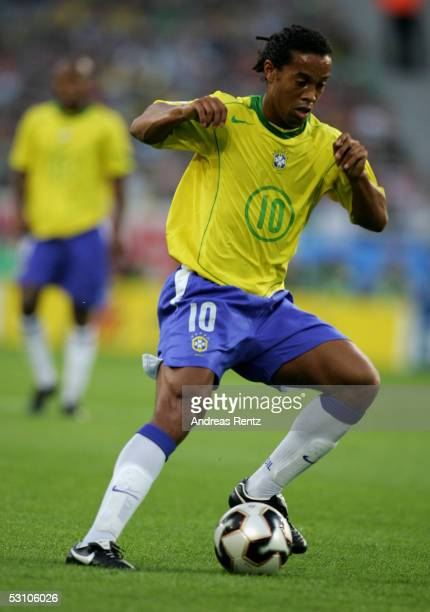 Ronaldinho of Brazil in action during the FIFA Confederations Cup 2005 match between Mexico and Brazil on June 19 2005 in Hanover Germany