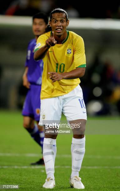 Ronaldinho of Brazil makes a point during the FIFA World Cup Germany 2006 Group F match between Japan and Brazil at the Stadium Dortmund on June 22...