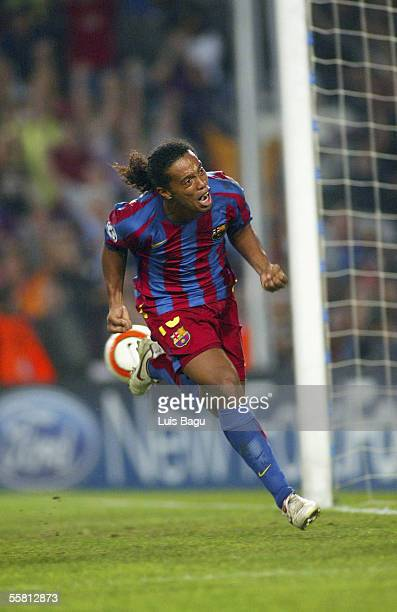 Ronaldinho of FC Barcelona celebrates a goal during the UEFA Champions League Group A match between FC Barcelona and Udinese at the Camp Nou Stadium...