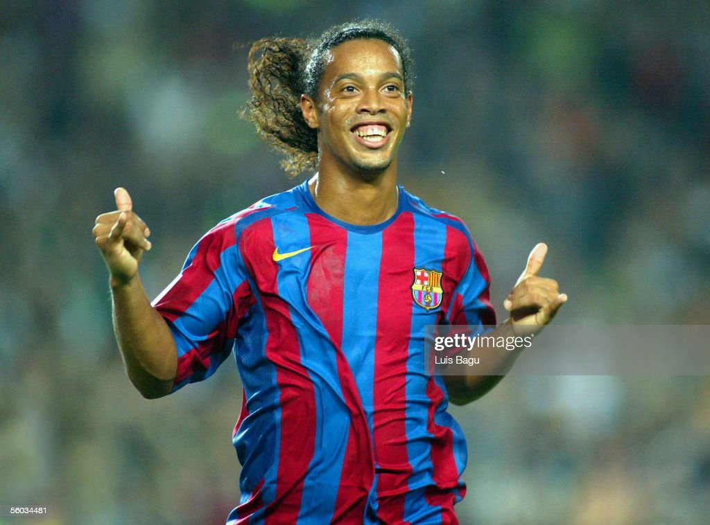 Ronaldinho of FC Barcelona celebrates his goal during the La Liga match between FC Barcelona and Real Sociedad, on October 30, 2005 at the Camp Nou stadium in Barcelona, Spain.