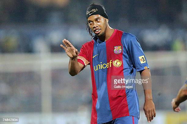 Ronaldinho of FC Barcelona in action during the PSL soccer match between the Sundowns and FC Barcelona at Loftus Versfeld stadium on June 20 2007 in...