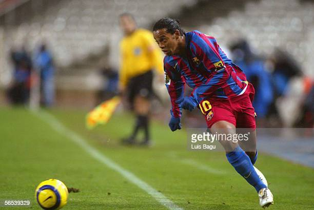 Ronaldinho of FC Barcelona is seen during the match between RCD Espanyol and FC Barcelona of La Liga on January 7 2006 at the Lluis Companys stadium...