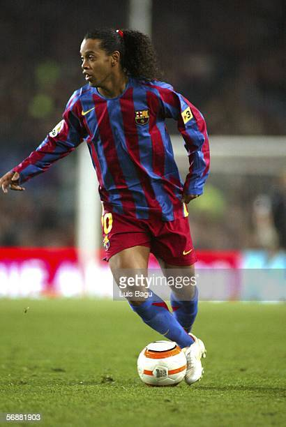 Ronaldinho of FC Barcelona is seen in action during the match between FC Barcelona and Real Betis of La Liga on February 18 at the Camp Nou stadium...