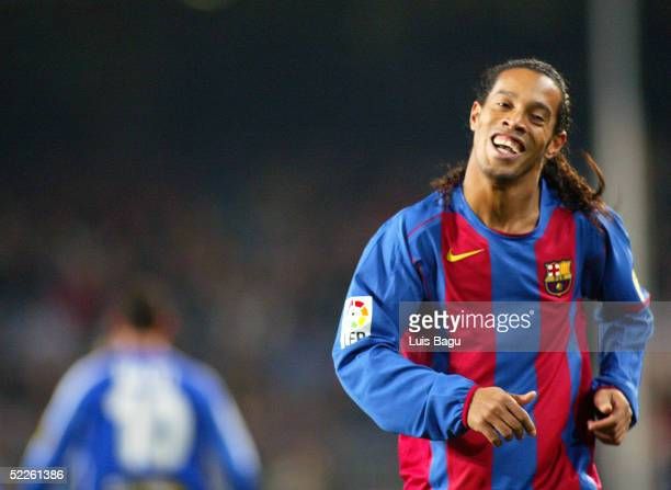 Ronaldinho of FC Barcelona smiles in the La Liga match between FC Barcelona and RCD Espanyol on March 1 2005 at Camp Nou stadium in Barcelona Spain