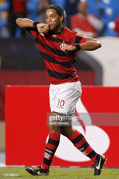 Ronaldinho of Flamengo celebrates scored goal againist during a match as part of Copa Bridgestone Sudamericana 2011 at Engenhao stadium on August 10...