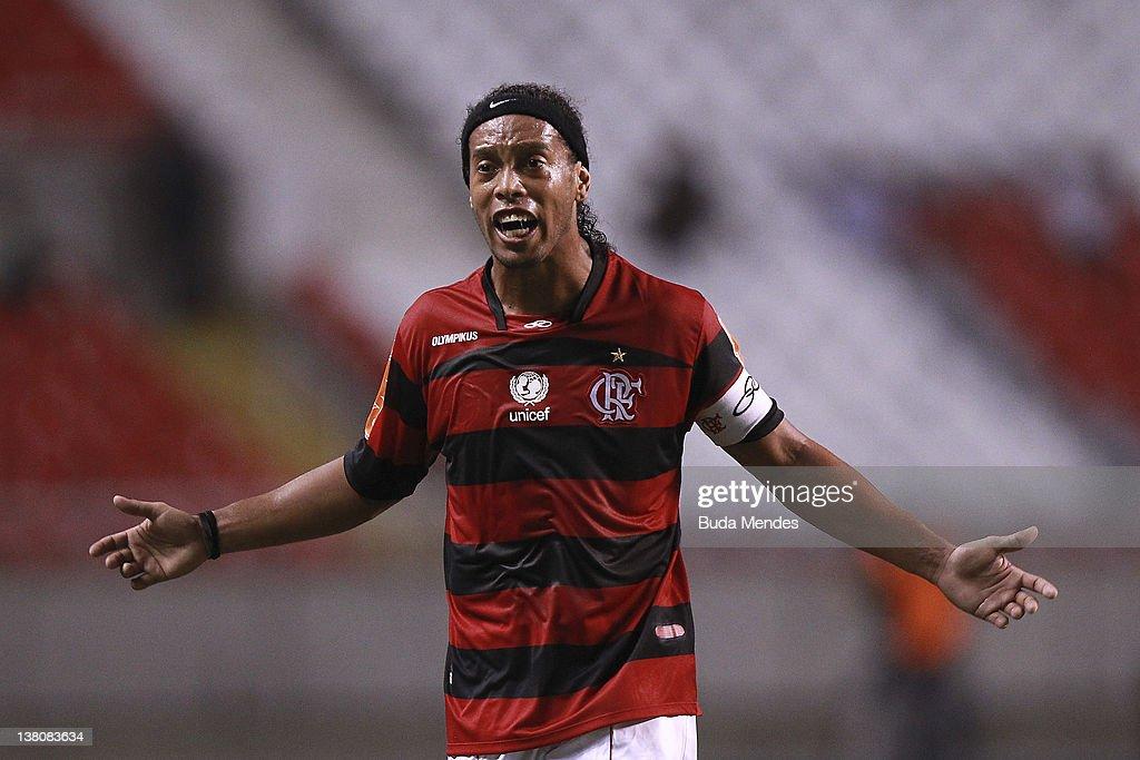 Ronaldinho of Flamengo during a match between Flamengo v Real Potosi as part of Santander Libertadores Cup 2012 at Engenhao stadium on February 01...