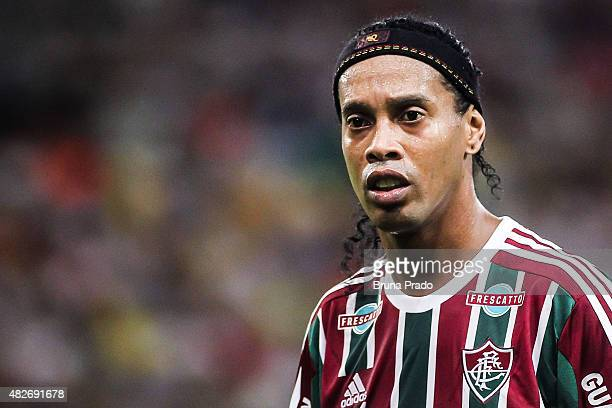 Ronaldinho of Fluminense during the Brasileirao Series A 2015 match between Fluminense and Gremio at Maracana Stadium on August 01 2015 in Rio de...