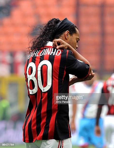 Ronaldinho of Milan in action during the Serie A match between AC Milan and Catania Calcio at Stadio Giuseppe Meazza on April 11 2010 in Milan Italy