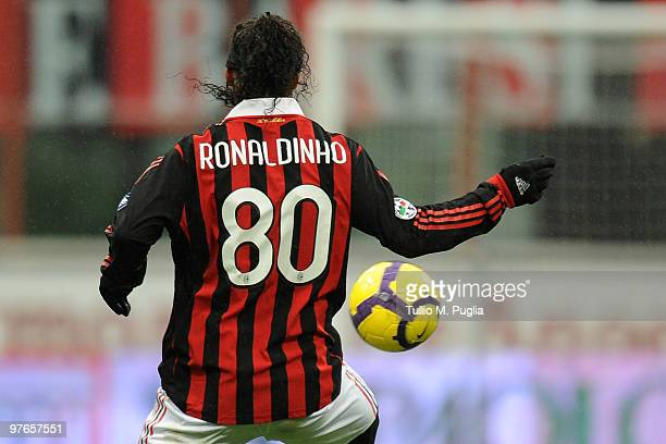 Ronaldinho of Milan in action during the Serie A match between Milan and Atalanta at Stadio Giuseppe Meazza on February 28 2010 in Milan Italy