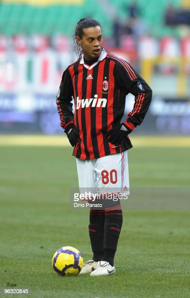 Ronaldinho of Milan loocks on during the Serie A match between AC Milan and Livorno at Stadio Giuseppe Meazza on January 31 2010 in Milan Italy