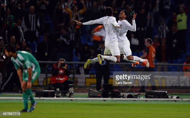 Ronaldinho of Mineiro celebrates after scoring his teams first goal during the FIFA Club World Cup Semi Final match between Raja Casablanca and...