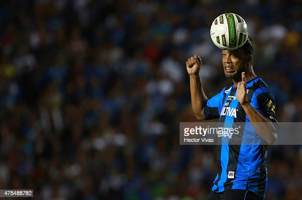 Ronaldinho of Queretaro heads the ball during a championship second leg match between Queretaro and Santos Laguna as part of Clausura 2015 Liga MX at...