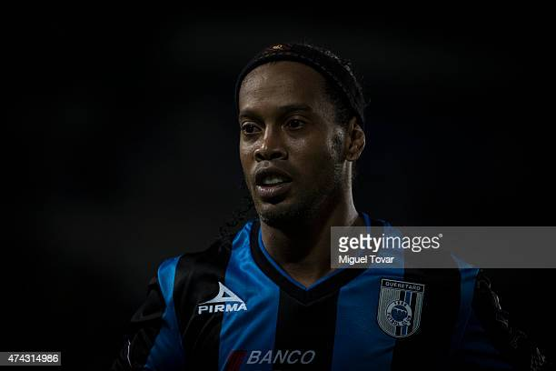 Ronaldinho of Queretaro looks on during a semifinal first leg match between Pachuca and Queretaro as part of Clausura 2015 Liga MX at Hidalgo Stadium...