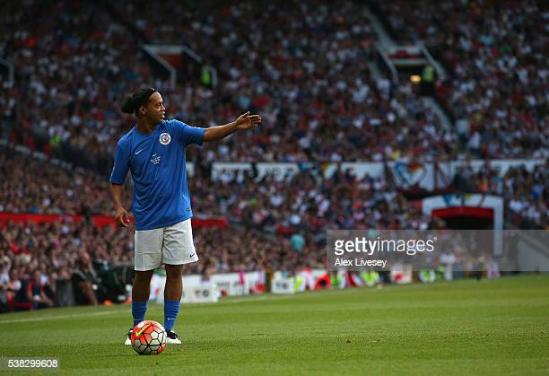 Ronaldinho of Rest of the World looks on during the Soccer Aid 2016 match in aid of UNICEF at Old Trafford on June 5 2016 in Manchester England