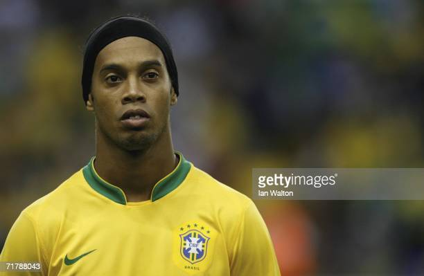 Ronaldino lines up during the national anthem during the International Friendly between Brazil and Wales on September 5 2006White Hart Lane in London