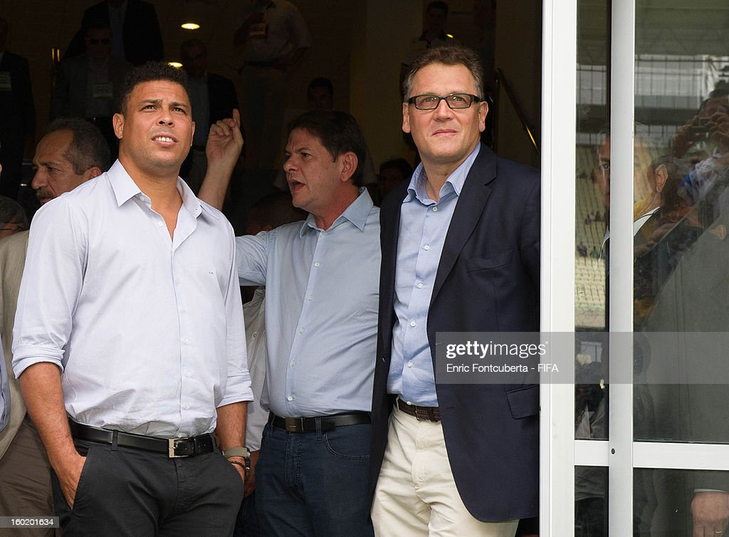 Ronaldo and FIFA Secretary General, <a gi-track='captionPersonalityLinkClicked' href=/galleries/search?phrase=Jerome+Valcke&family=editorial&specificpeople=4375385 ng-click='$event.stopPropagation()'>Jerome Valcke</a>, take a tour of the brand new Castelao Stadium during the 2014 FIFA World Cup Host City Tour on January 27, 2013 in Fortaleza, State of Ceara, Brazil.
