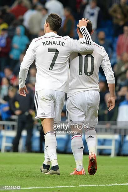 Ronaldo and James of Real Madrid during the La Liga match between Real Madrid and Malaga at Estadio Santiago Bernabeu in Madrid Spain on April 18 2015