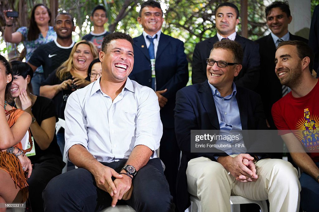 Ronaldo and <a gi-track='captionPersonalityLinkClicked' href=/galleries/search?phrase=Jerome+Valcke&family=editorial&specificpeople=4375385 ng-click='$event.stopPropagation()'>Jerome Valcke</a>, FIFA Secretary General, attend the Fenomeno Foundation during the 2014 FIFA World Cup Host City Tour on January 27, 2013 in Fortaleza, State of Ceara, Brazil.