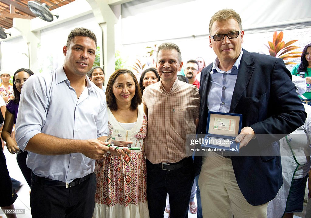 Ronaldo and Jerome Valcke, FIFA Secretary General, attend the Fenomeno Foundation during the 2014 FIFA World Cup Host City Tour on January 27, 2013 in Fortaleza, State of Ceara, Brazil.