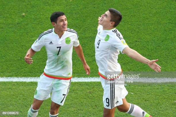 Ronaldo Cisneros of Mexico celebrates with his team mate Uriel Antuna after scoring his team's winning goal during the FIFA U20 World Cup Korea...