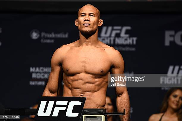 Ronaldo 'Jacare' Souza of Brazil steps on the scale during the UFC Fight Night weighin event at the Prudential Center on April 17 2015 in Newark New...