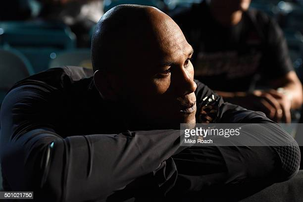 Ronaldo 'Jacare' Souza of Brazil waits backstage before stepping on the scale during the UFC 194 weighin inside MGM Grand Garden Arena on December 10...
