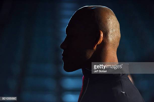 Ronaldo 'Jacare' Souza of Brazil waits backstage during the UFC 194 Weighin event at the MGM Grand Garden Arena on December 11 2015 in Las Vegas...