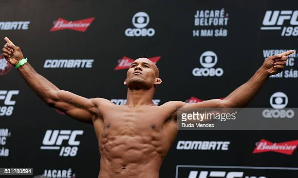 Ronaldo Jacare Souza of Brazil weighs in during the UFC 198 weighin at Arena da Baixada stadium on May 13 2016 in Curitiba Brazil
