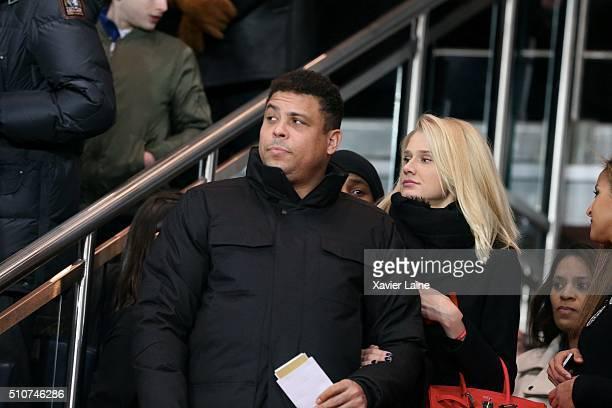 Ronaldo Luis Nazario de Lima and his girlfriend Celina Locks attend the UEFA Champions League round of 16 between Paris SaintGermain and Chelsea FC...