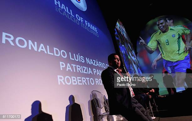 Ronaldo Luis Nazario de Lima attends a press conference before the Italian Football Federation Hall of Fame Award ceremony at Palazzo Vecchio on...