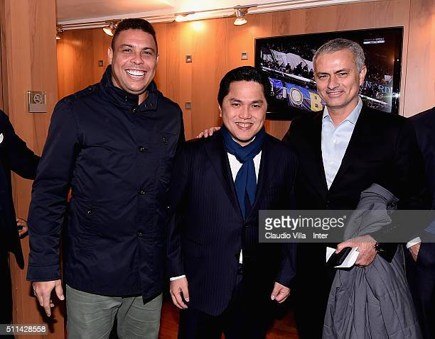 Ronaldo Luis Nazario de Lima President FC Internazionale Erick Thohir and Jose Mourinho attend the Serie A match between FC Internazionale Milano and...