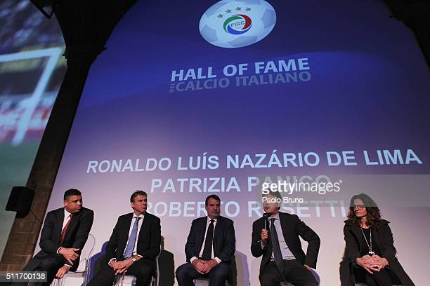 Ronaldo Luis Nazario de Lima Roberto Rossetti Marco Tardelli Florence Mayor Dario Nardella and Patrizia Panico attend a press conference before the...