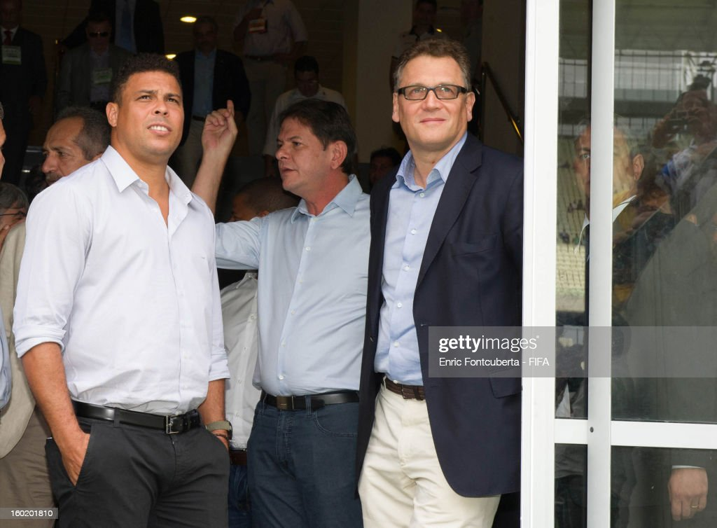 Ronaldo Luis Nazario, LOC Memeber, and Jerome Valcke, FIFA Secretary General, take a look at brand new Castelao Stadium during the 2014 FIFA World Cup Host City Tour on January 27, 2013 in Fortaleza, State of Ceara, Brazil.