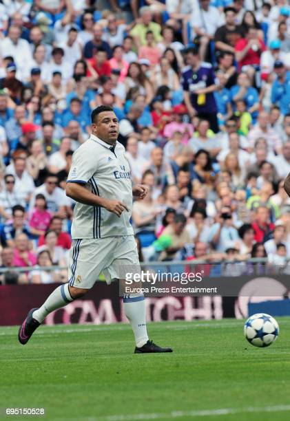 Ronaldo Nazario de Lima plays football during 8th Corazon Classic Match at Estadio Santiago Bernabeu on June 11 2017 in Madrid Spain