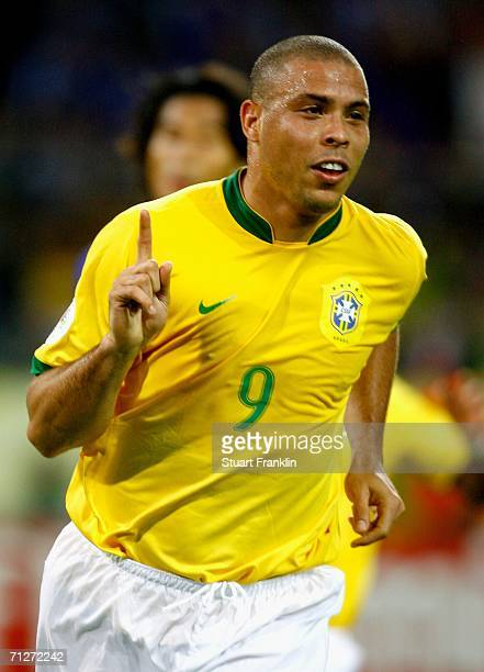 Ronaldo of Brazil celebrates scoring a goal during the FIFA World Cup Germany 2006 Group F match between Japan and Brazil at the Stadium Dortmund on...